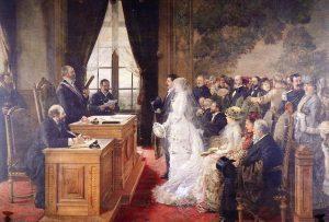 Henri Gervex, Le mariage des Mathurin Moreau dans l'hôtel de ville de Paris, peinture, 1881. Huile sur toile. 65 cm x 82 cm. Collection privée. ©The Bridgeman Art Library