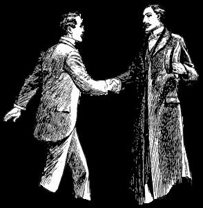 Unknown, Gentlemen shaking hands, Unknown, Sketch. Unknown. ©Freepik